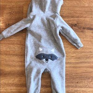 Carter's Raccoon Hooded Fleece Jumpsuit (9 months)